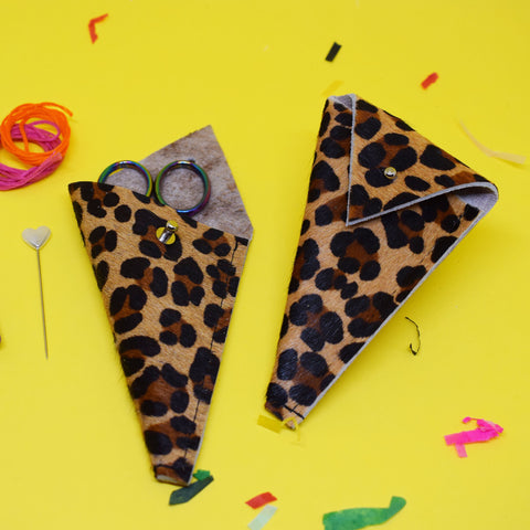 'LEOPARD' LEATHER SCISSOR POUCH