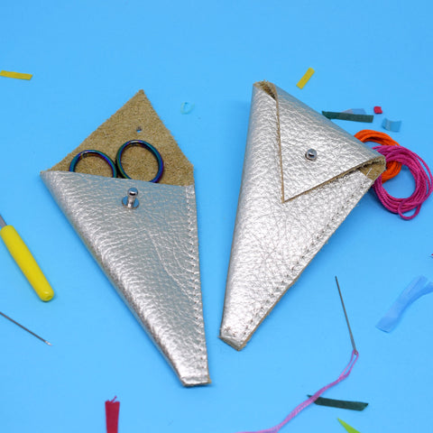 'SILVER' LEATHER SCISSOR POUCH