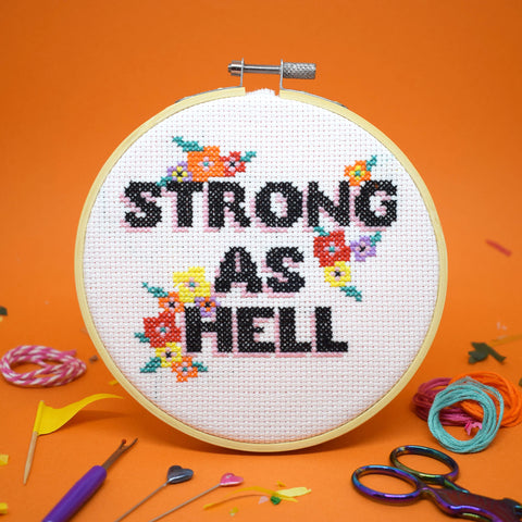 'STRONG AS HELL' CROSS STITCH KIT