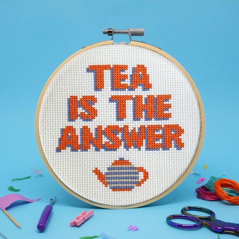 'TEA IS THE ANSWER CROSS STITCH KIT