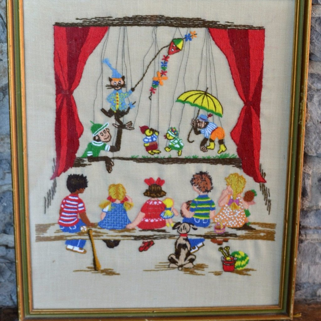 Vintage Embroidered Puppet Show
