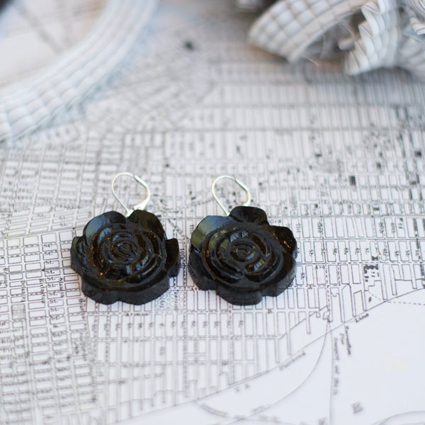 Black Retro Rose Dangles