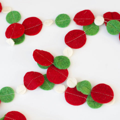Red White and Green Wool Felt Garland