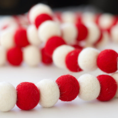 Red and White Wool Felt Garland