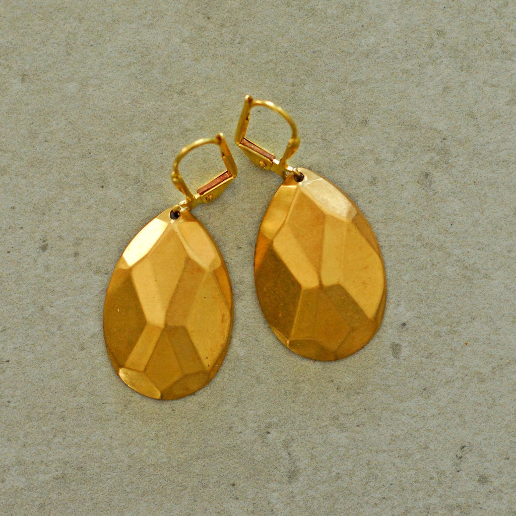 Solid Gold Poire Earrings