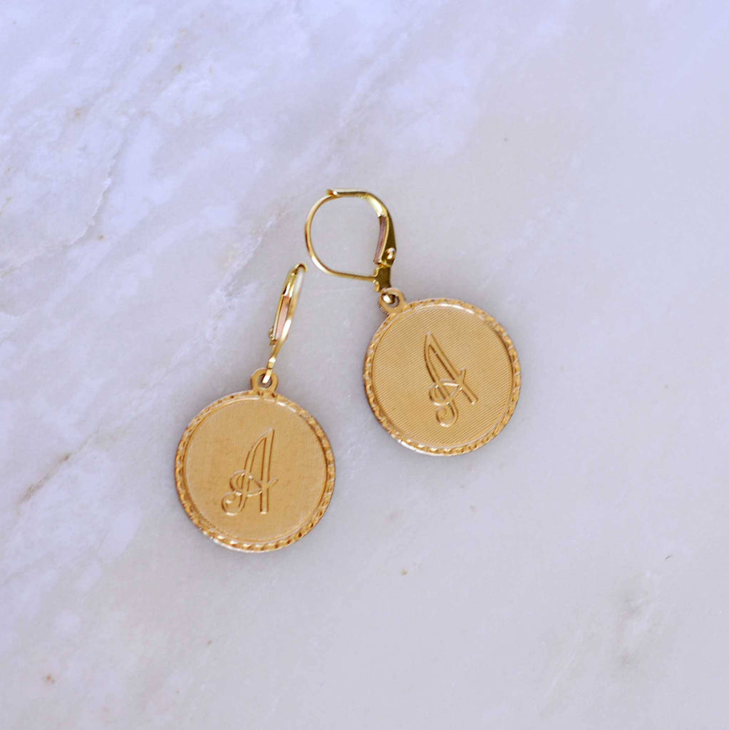 Cursive Brass Initials Earrings