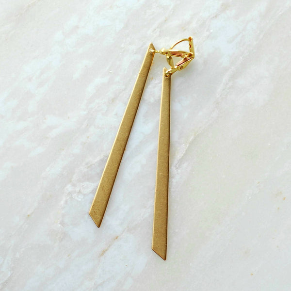Brass Trapezoid Earrings