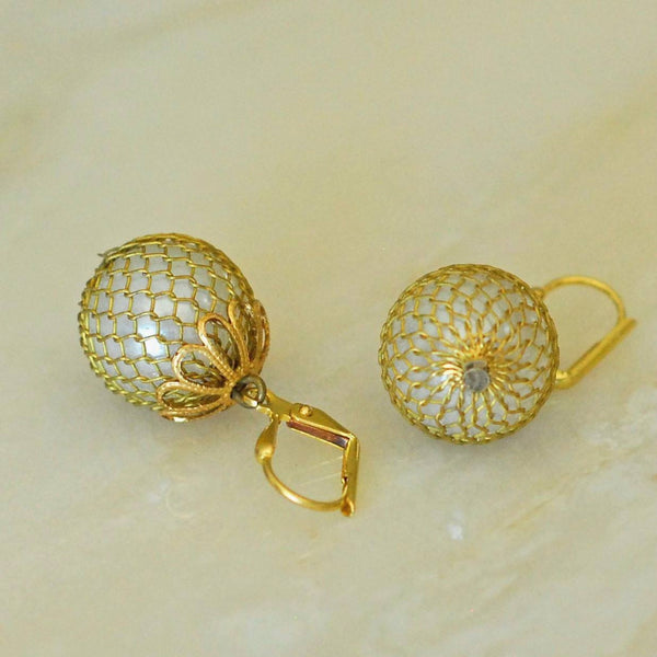 Vintage Mesh Pearl Earrings