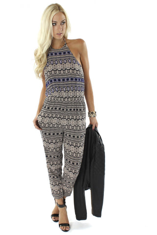 Sophie & Trey - Beaded Jumpsuit Blue