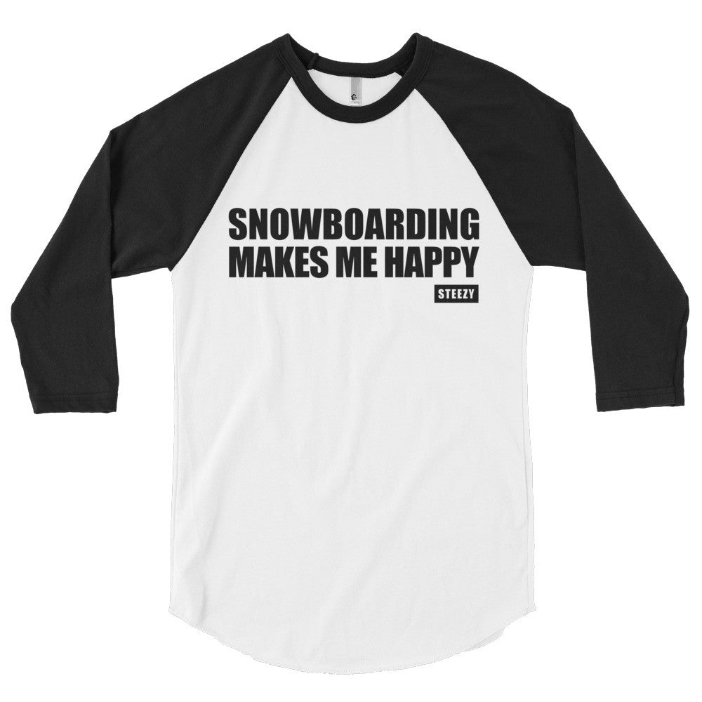 "Women's ""Snowboarding Makes Me Happy"" Baseball Tee - Steezy.com"