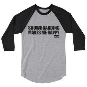 "Men's ""Snowboarding Makes Me Happy"" Baseball Tee"