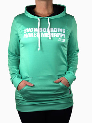 Mint Snowboarding Makes Me Happy Hoodie Dress - STEEZY