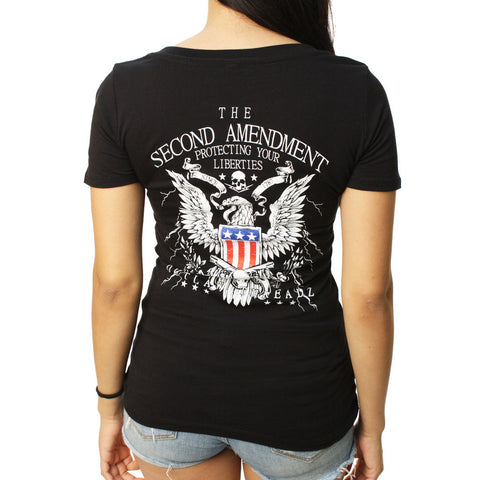 Outlaw Threadz Womens 2nd Ammendment Vneck T Shirt Black