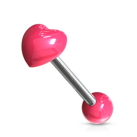 Heart Acrylic Top 316L Surgical Steel 14g Barbell