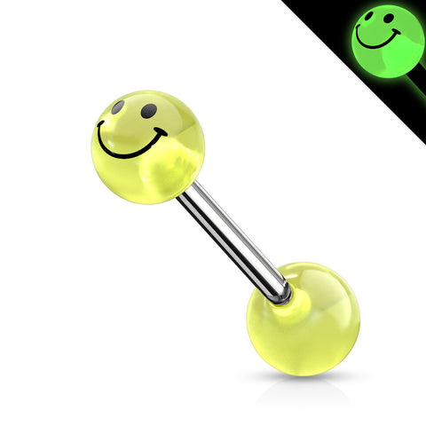 Smile Printed Glow In The Dark Ball Barbell