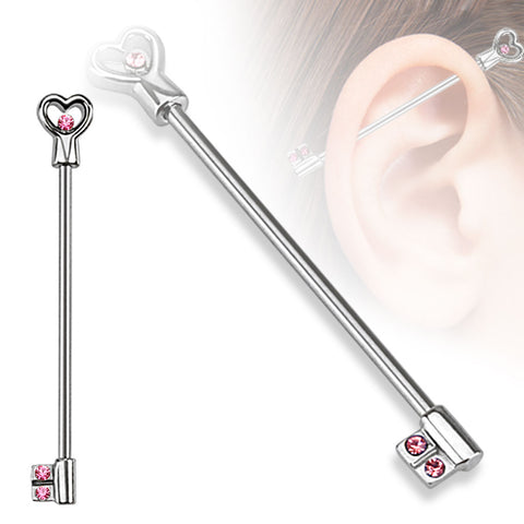 316L Surgical Steel Heart Key with CZs Industrial Barbell
