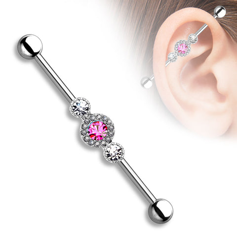 Three CZ Centered Multi Paved Circle 316L Surgical Steel Industrial Barbell