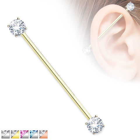 Round CZ Prong Set Ends 316L Surgical Steel Industrial Barbell