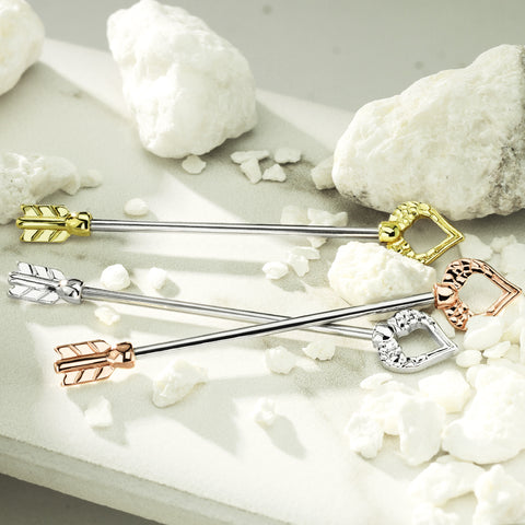 Heart and Feather Arrow 316L surgical Steel Industrial Barbell