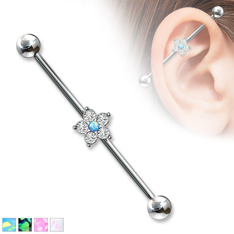 5 CZ Flower with Opal Glitter Center 316L Surgical Steel Industrial Barbell
