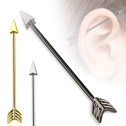 Arrow 316L Surgical Steel Industrial Barbell