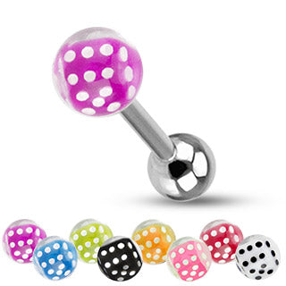 Dice Inside Bubble Ball Assorted Color 316L Surgical Steel Barbell