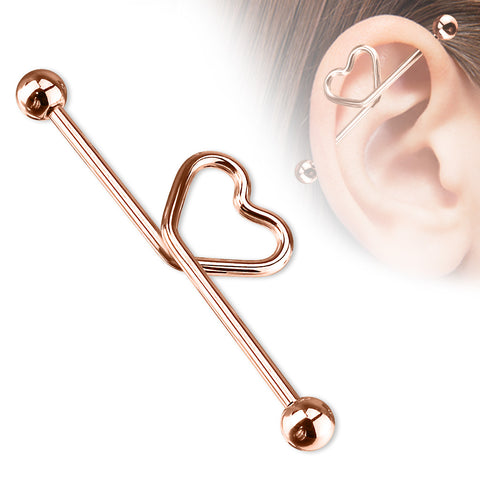 Heart shape in the middle Titanium IP over 316L S.Steel Industrial Barbell