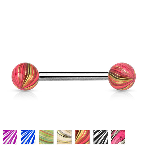 Multi Color Plated 316L Surgical Steel Balls and Extra Clear Electric Coated 316L Surgical Steel Barbell
