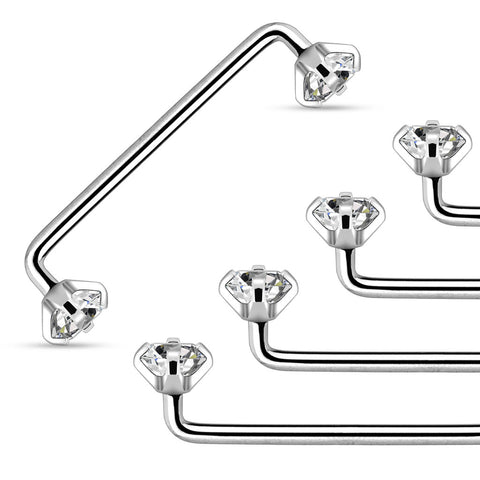 Staple Surface Barbell with Internally Threaded Prong set Clear Gem 316L Surgical Steel 14 Gauge