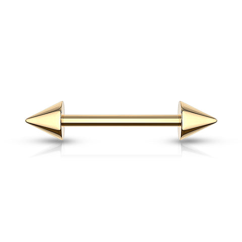 Spike End Barbell Gold IP Over 316L Surgical Steel