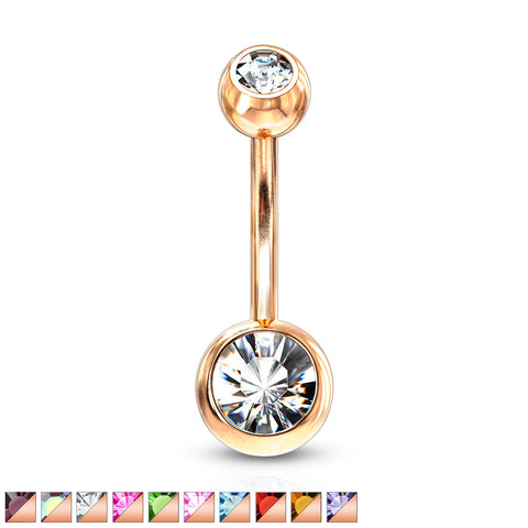 Double Jeweled Basic Navel Ring Rose Gold IP Over 316L Surgical Steel
