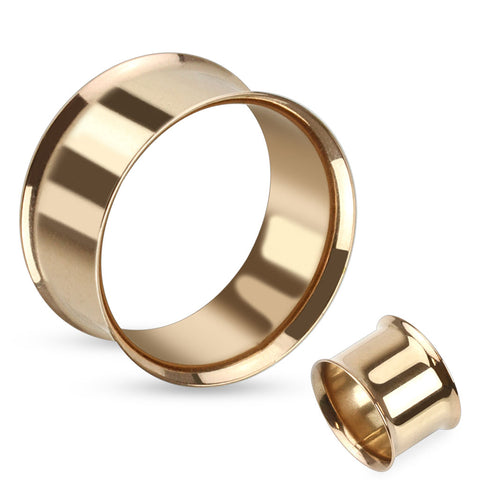 Double Flared Flesh Tunnels Rose Gold IP Over 316L Surgical Steel