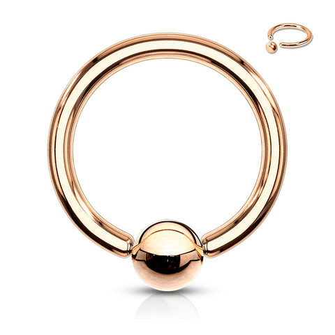 Captive Bead Ring Rose Gold IP Over 316L Surgical Steel
