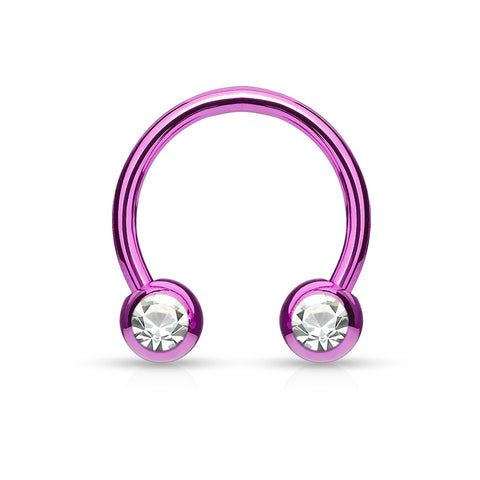 Titanium IP Over 316L Surgical Steel Horseshoe with Front Facing Press Fit Gem Balls