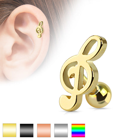 Treble Clef Music Note Tragus/Cartilage Piercing Stud 316L Surgical Steel