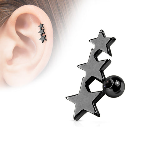 Three Stars Tragus/Cartilage Piercing Stud 316L Surgical Steel