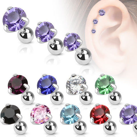 Round CZ Pronged Tragus/Cartilage Piercing Stud 316L Surgical Steel