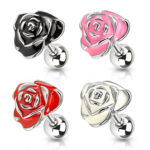 Rose Enamel Tragus/Cartilage Barbell 316L Surgical Steel