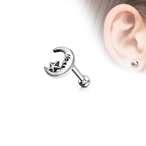 Moon and Star Antique Silver Plated Top 316L Surgical Steel Ear Cartilage Barbell Studs