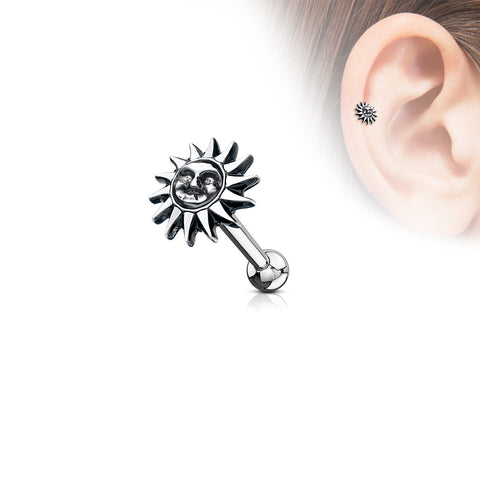 Tribal Sun Antique Silver Plated Top 316L Surgical Steel Ear Cartilage Barbell Studs