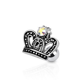 Royal Crown with CZ Tragus/Cartilage Piercing Stud 316L Surgical Steel