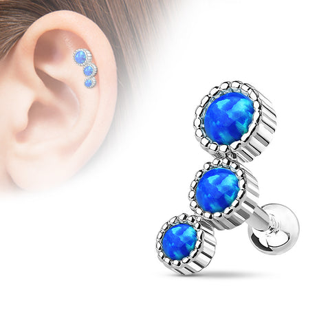 Triple Round Opal Set Cartilage/Tragus Barbell Studs 316L Surgical Steel