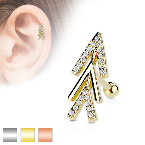 CZ Micro Paved Chevron Arrow Top 316L Surgical Steel Cartilage, Tragus Barbell Studs