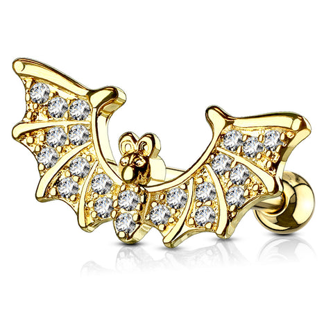 CZ Paved Bat Wings Top 316L Surgical Steel Ear Cartilage/Tragus Barbell Stud Ring