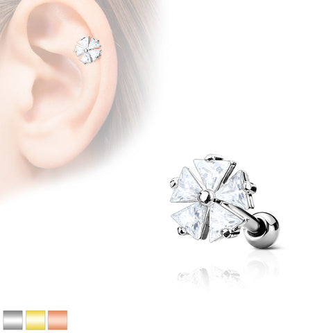 Five Triangle CZ Flower Top 316L Surgical Steel Ear Cartilage Barbell Stud