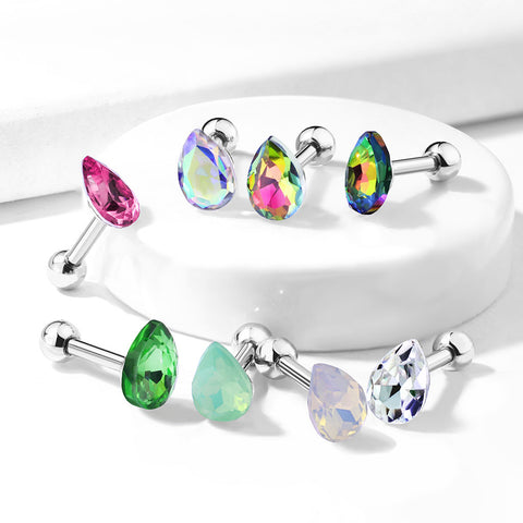Tear Drop Crystal Top 316L Surgical Steel Cartilage, Tragus Barbell Studs
