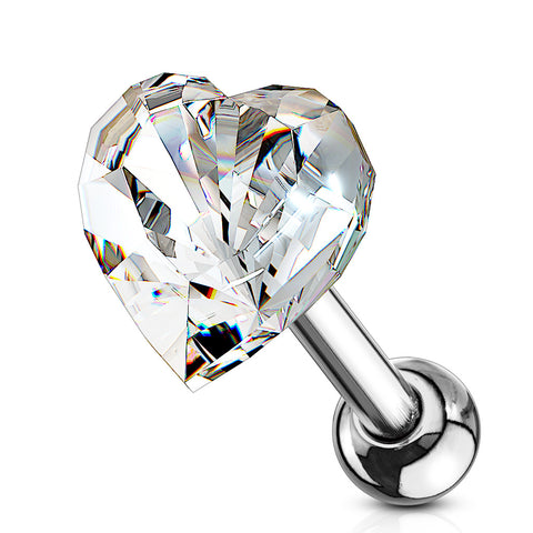 Heart Crystal Top 316L Surgical Steel Cartilage, Tragus Barbell Studs