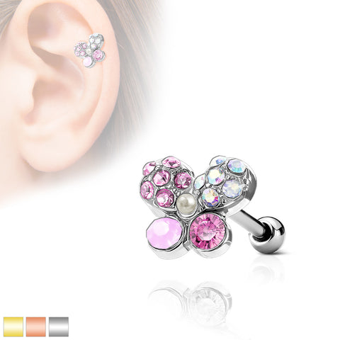 Crystals Paved Butterfly Top 316L Surgical Steel Ear Cartilage Barbell Stud