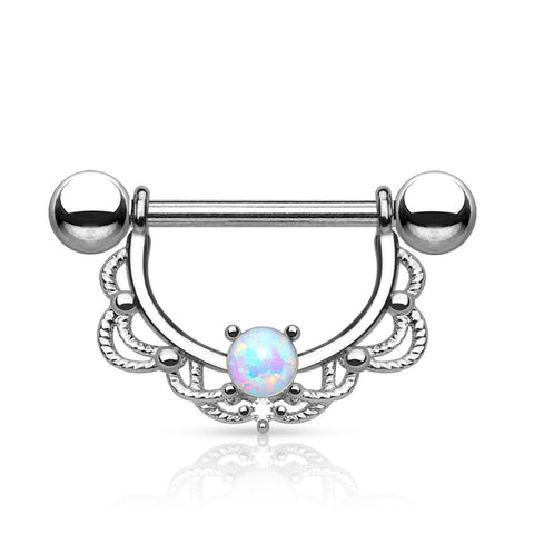 Opal Centered Filigree Drop 316L Surgical Steel Nipple Rings