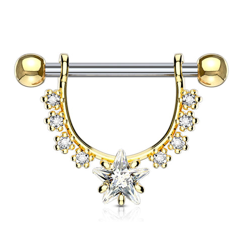 Star CZ Center with Lined Prong Set CZs Dangle 316L Surgical Steel Nipple Ring